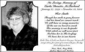 In Loving Memory of Carla Donette