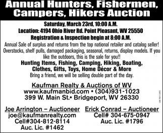 Annual Hunters, Fisherman, Campers & Hikers Auction