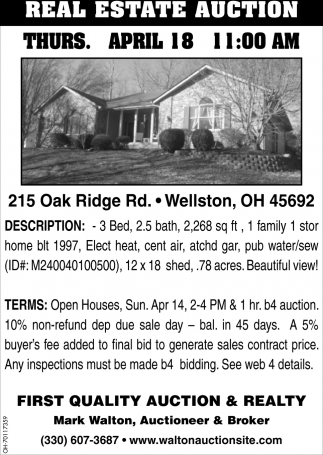 Real Estate Auction - 215 Oak Ridge Rd., Wellston