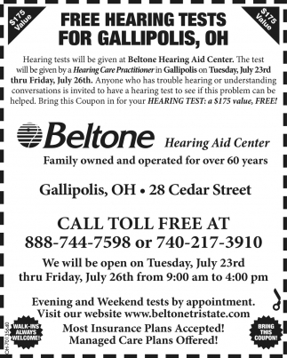 Free Hearing Tests for Gallipolis, Beltone Hearing Aid