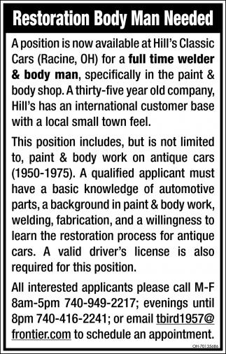 Restoration Body Man Needed