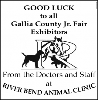Good Luck to all Gallia County Jr. Fair Exhibitors