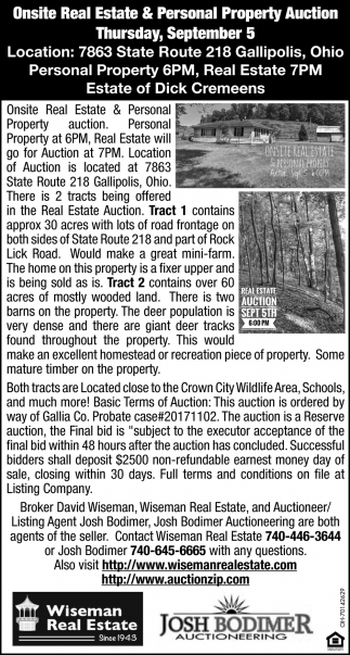 Onsite Real Estate & Personal Property Auction
