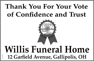 Thank You For Your Vote of Confidence and Trust