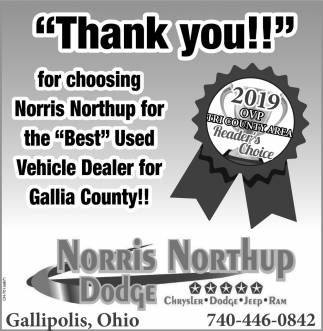 Thank you for choosing Norris Northup for the Best Used Vehicle Dealer for Gallia County