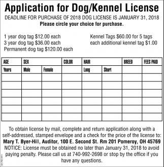 Application for Dog/Kennel License