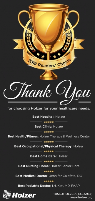Thank You for Choosing Holzer for your Healthcare Needs