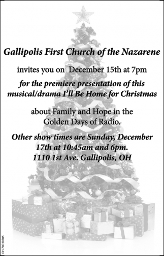 I\'ll Be Home for Christmas, Gallipolis First Church of the Nazarene
