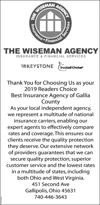 Thank You for Choosing Us as your 2019 Readers Choice Best Insurance Agency of Gallia County
