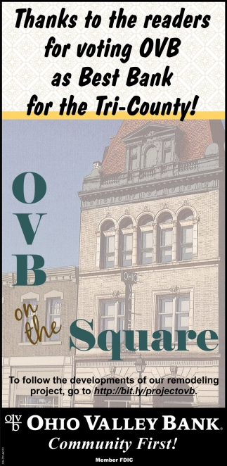 Thanks to the readers for voting OVB as Best Bank for the Tri-County!