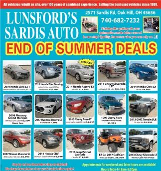 End Of Summer Hot Deals