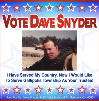 Vote Dave Snyder To Serve Gallipolis