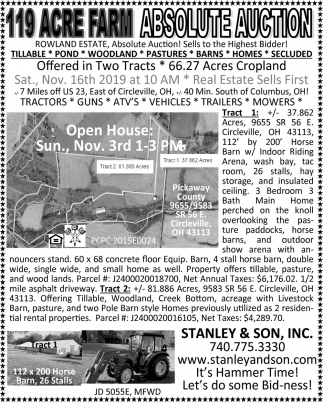 119 Acre Farm - Absolute Auction - Nov. 16th