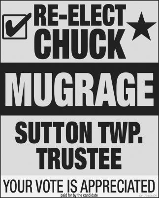 Re-Elect Chuck Mugrave Sutton Twp. Trustee