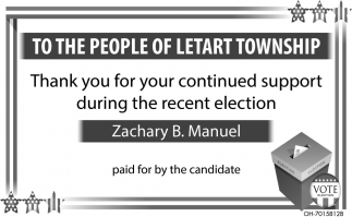 Thank you for your continued support during the recent election