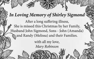 In Loving Memory of Shirley Sigmond