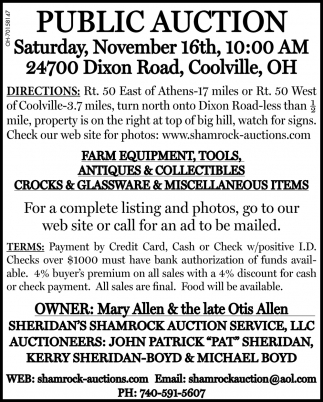 Public Auction - November 16th