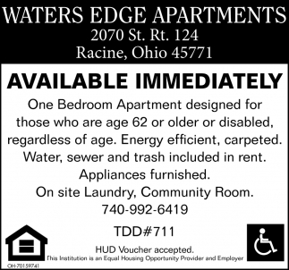 Available Immediately, Waters Edge Apartments