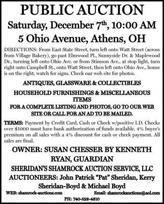Public Auction - December 7th
