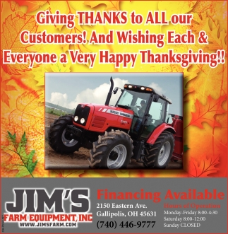 Giving Thanks to all our Customers! And Wishing Each & Everyone a Very Happy Thanksgiving!