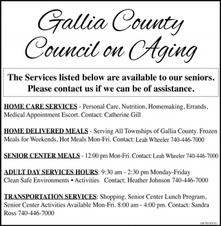 The Services listed below are availble to our seniors