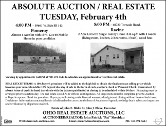 Absolute Auction / Real Estate - February 4th