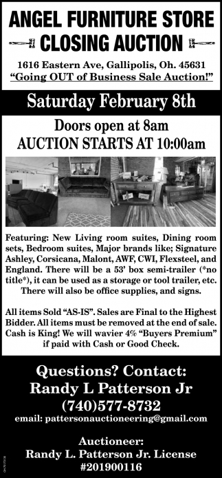 Angel Furniture Store - Closing Auction - February 8th