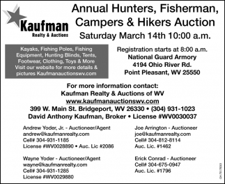Annual Hunters, Fisherman, Campers & Hikers Auction - March 14th