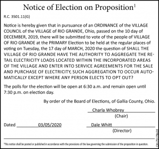 Notice of Election on Proposition