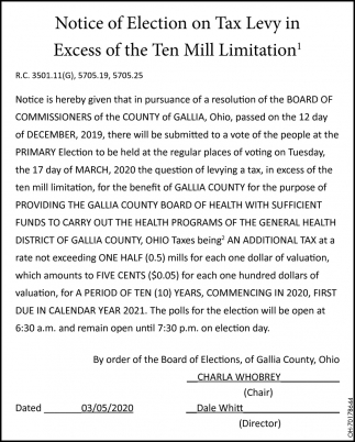 Notice of Election on Tax Levy