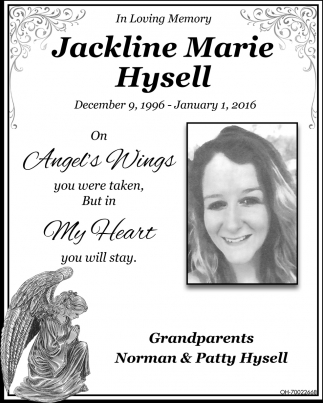 Jackline Marie Hysell In Memory My Daily Tribune Gallipolis Oh