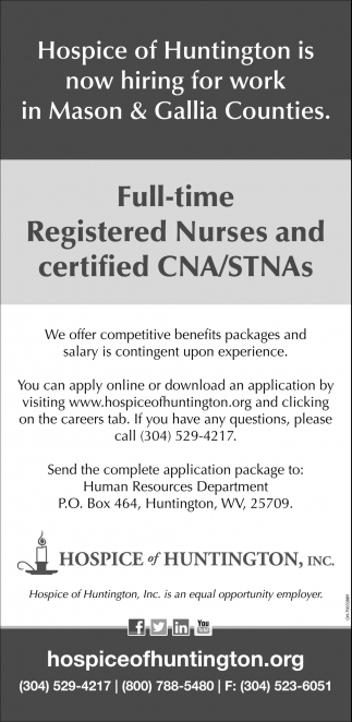 Registered Nurses And Certified Cnastnas Hospice Of Huntington