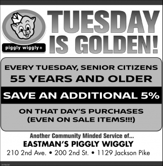 Tuesdays senior citizens save 5%