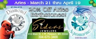 20% off Aries Birthstones!