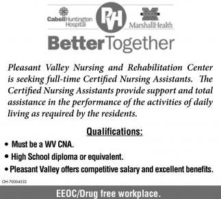 Certified Nursing Assistant Cna Cabell Huntington Hospital