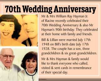 70th Wedding Anniversary