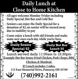 Daily Lunch at Close to Home Kitchen