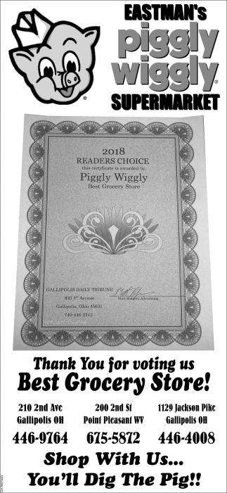 Best Grocery Store, Eastman's Piggly Wiggly, Gallipolis, OH
