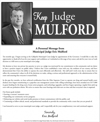 Keep Judge Mulford