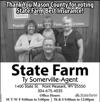 Thank You Mason County for voting State Farm Best Insurance