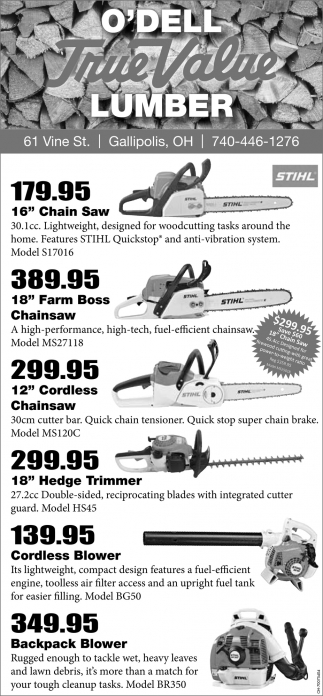 Chainsaws, Trimmers, Blowers