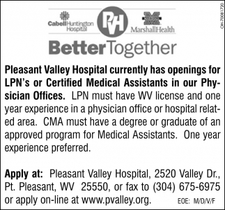 LPN's or Certified Medical Assistant