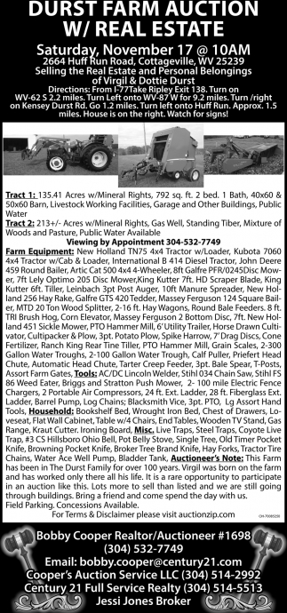 Durst Farm Auction W/Real Estate