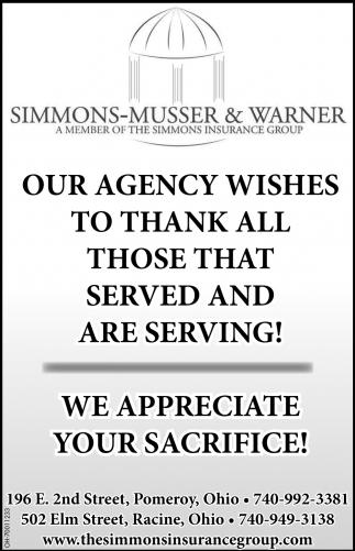 We appreciate your sacrifice!