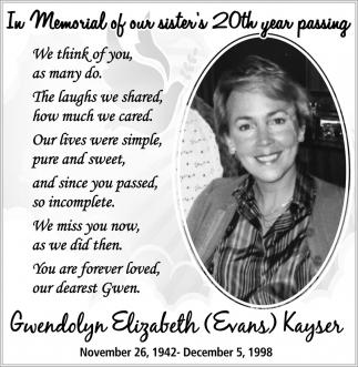 Gwendolyn Elizabeth Evans Kayser