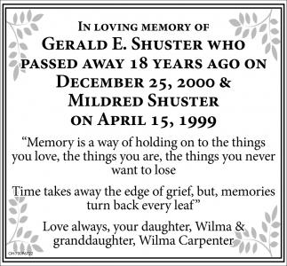 Gerald E. Shuster, Mildred Shuster